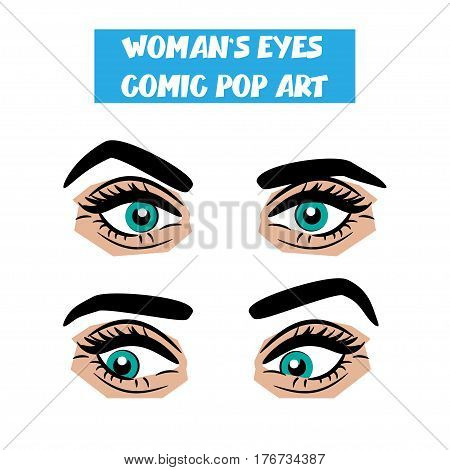 Beautiful sexy girl blue staring, disappointment eyes long eyelashes, eyebrows. Emotional look style pop art. Comic book retro white background. Vector comic woman cartoon illustration. Body part.