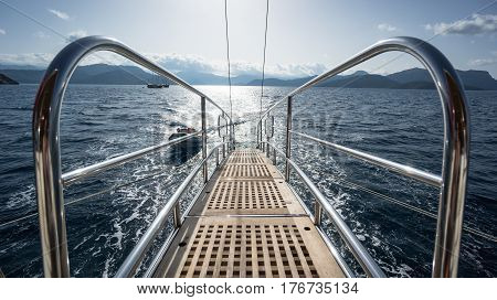 Marmaris, Turkey - October 8, 2016: A luxurious boat stairs to sea during sail