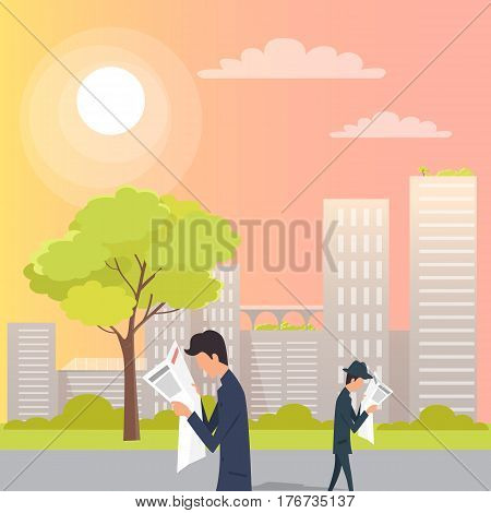 Male people are walking in opposite directions and reading fresh newspapers on urban street. Vector picture of men spending time outside in good summer or spring weather with buildings on background