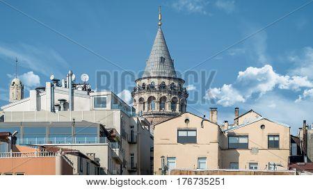 Istanbul, Turkey - February 24, 2017: Galata Tower in Galata district, Istanbul