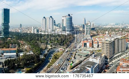 Istanbul, Turkey - February 22, 2017:  Aerial view Levent district in Istanbul, showing Buyukdere avenue and important shopping malls