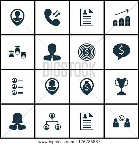 Set Of 16 Human Resources Icons. Includes Money Navigation, Manager, Business Deal And Other Symbols. Beautiful Design Elements.