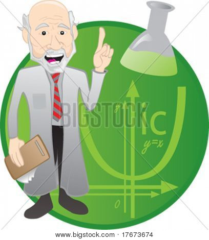 Scientist or doctor gives chemistry lesson