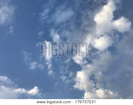 cloudy sky background white clouds blue sky in sunlight