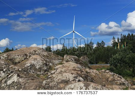 These are wind power stations in Swedish forest.