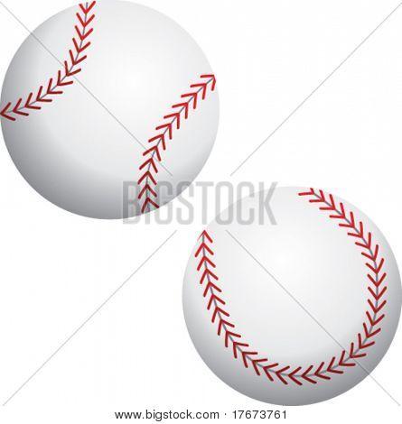 two angles of a baseball