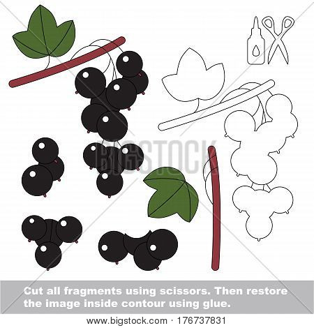 Use scissors and glue and restore the picture inside the contour. Easy educational paper game for kids. Simple kid application with Black Currant