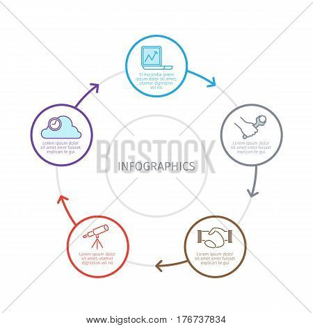 Sequence of business processes infographics. Laptop, wrench in hand, handshake, spyglass and cloud line pictograms in colors circles connected arrows vector on white. Circulation of work tasks concept