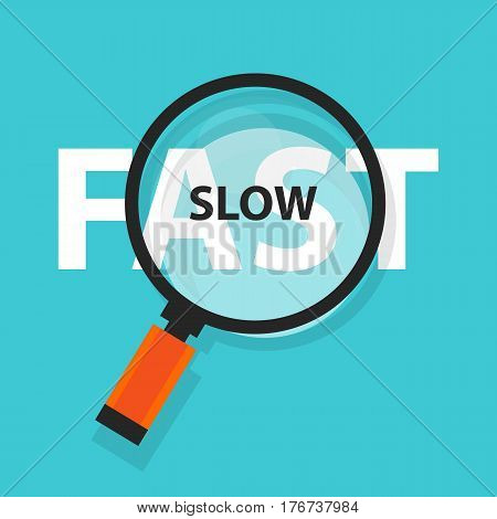 fast and slow concept business analysis magnifying glass symbol vector