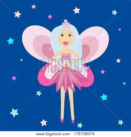 Tooth fairy vector illustration Angel, girl, princess