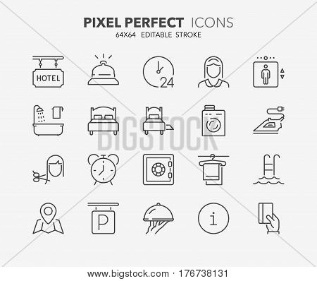 Set of hotel service amenities thin line icons. Contains icons as cleaning service room service hairdressing ironing laundry and more. Editable vector stroke. 64x64 Pixel Perfect.