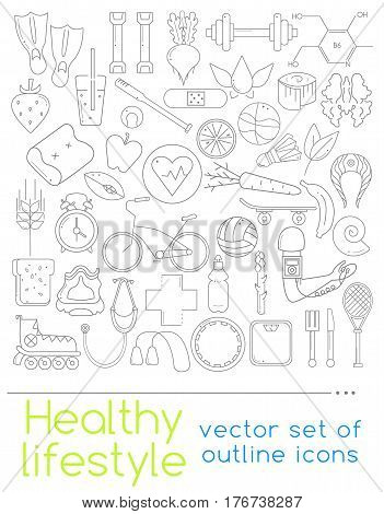 Healthy lifestyle concept in flat design. Vector outline icons for your web design. Icons of healthy food and sport.