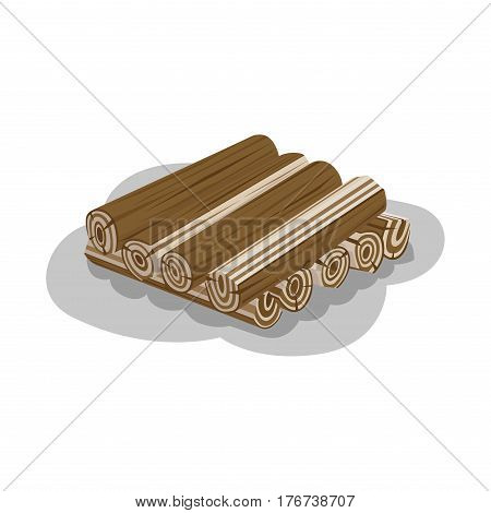 Neatly stacked firewood with shadow on white background. Elements to make fire. Outdoor pastime on nature. Firewood logs isolated vector illustration of natural materials used to make fire