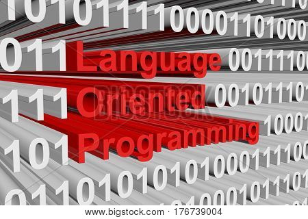 Language oriented programming is presented in the form of binary code 3d illustration