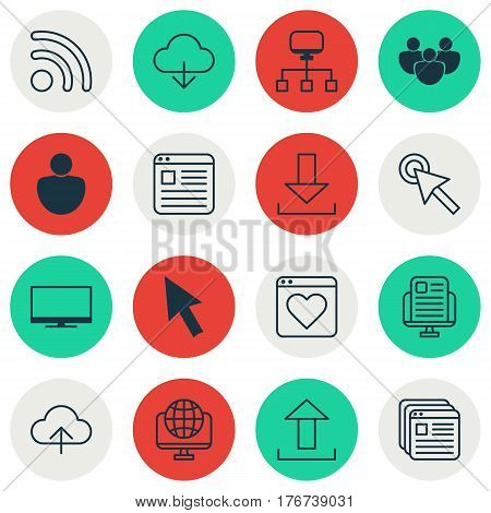 Set Of 16 World Wide Web Icons. Includes Login, Followed Website, Website Bookmarks And Other Symbols. Beautiful Design Elements.