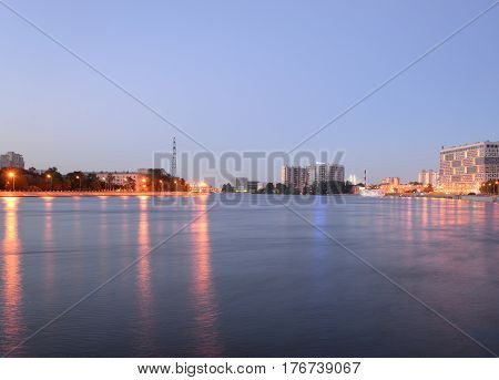 tNeva River at white night in St.Petersburg Russia.