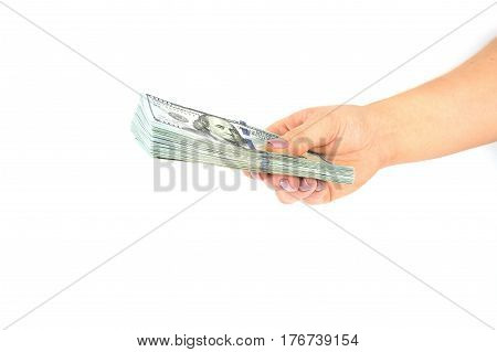 Female hand hold dollars banknotes on a white background
