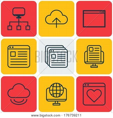 Set Of 9 World Wide Web Icons. Includes Followed Website, Program, Website Bookmarks And Other Symbols. Beautiful Design Elements.