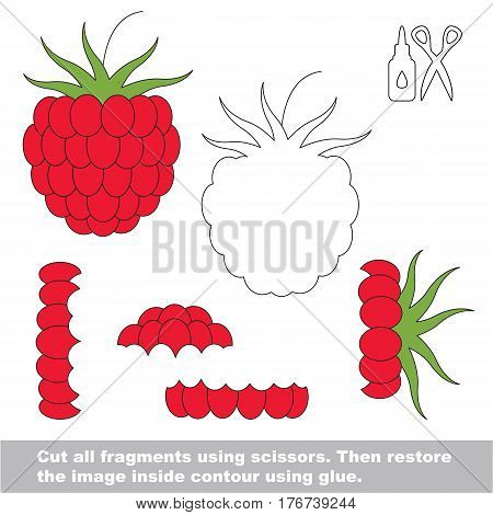 Use scissors and glue and restore the picture inside the contour. Easy educational paper game for kids. Simple kid application with Red Raspberry