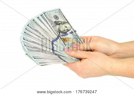 Female hands counting money, isolated on a white background