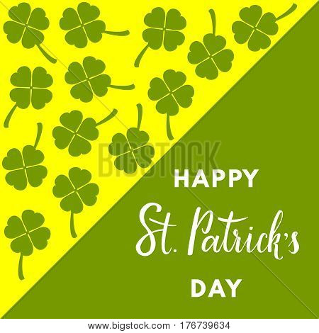 Saint Patrick's Day greeting card whith clover on geometric background. Happy St. Patrick's Day hand-drawn lettering.