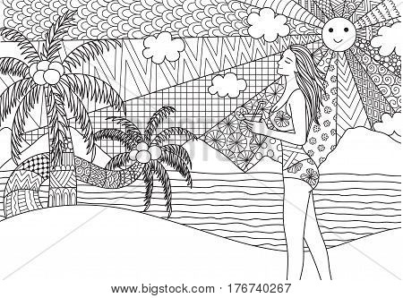 Zentangle design of sexy girl holding surfboard walking on the beach with wavy sea and coconut trees for adult coloring book pages - Stock Illustration
