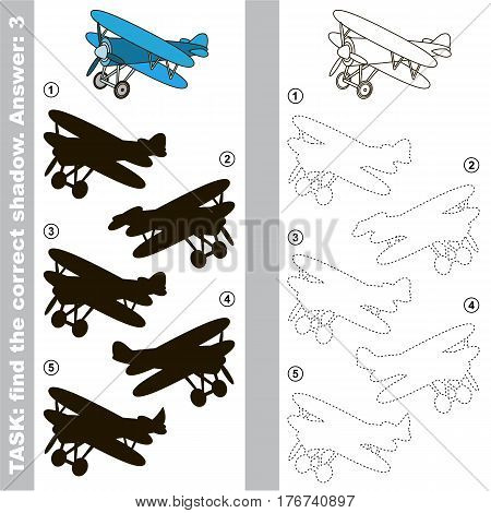 Biplane with different shadows to find the correct one, you need compare and connect object with it true shadow, this is the educational kid game with easy game level. Visual game for preschool children.