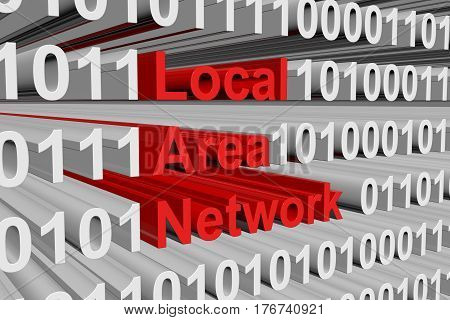 Local Area Network is presented in the form of binary code 3d illustration