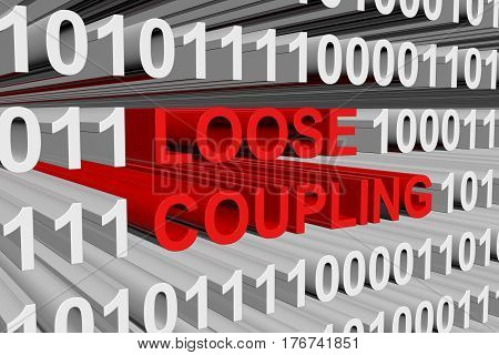 Loose coupling is presented in the form of binary code 3d illustration