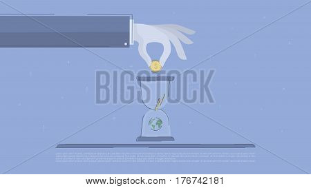 Global investment. Concept business vector for investing into ideas, creative innovative work, growing business. Flat illustration with thin broken line.