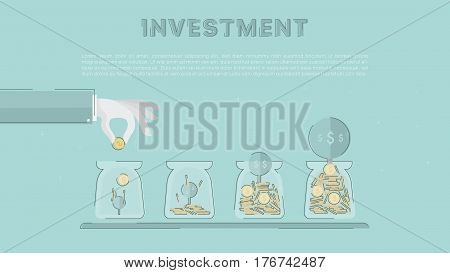 Accumulation of capital, saving of funds. Growing investment.  Concept business vector for investing into ideas, creative innovative work, growing business. Flat illustration with thin broken line.