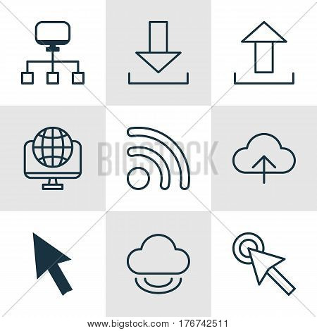 Set Of 9 Online Connection Icons. Includes Cursor Tap, Data Synchronize, Computer Network And Other Symbols. Beautiful Design Elements.