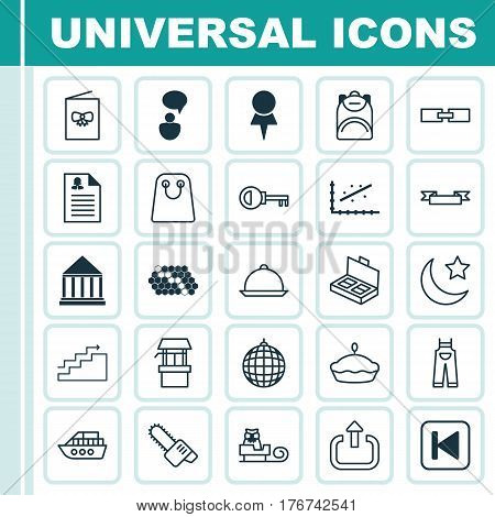 Set Of 25 Universal Editable Icons. Can Be Used For Web, Mobile And App Design. Includes Elements Such As Analytics, Celebration Card, Related Information And More.