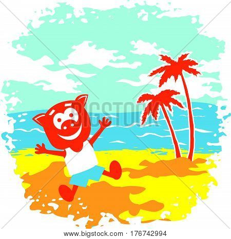 Cheerful pig to play the game on a sunny beach