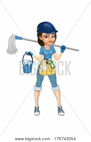 Cleaning lady in the construction helmet with a bucket and mop
