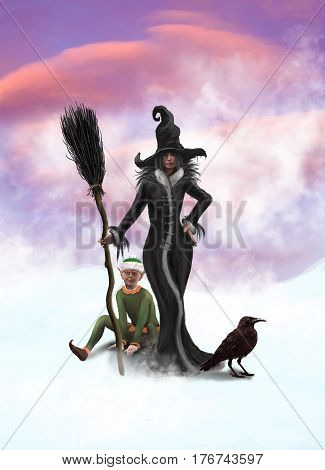 A witch Elf and a raven on a winter background