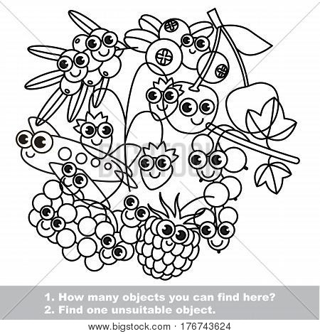 Set of cute berries. Mishmash set in vector outlined to be colored. Find all hidden objects on the picture. Easy educational kid game. Simple level of difficulty. Visual game for children.