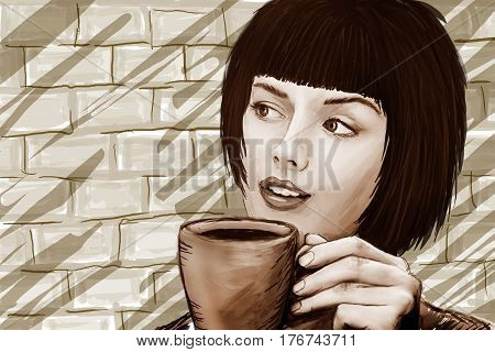 Pretty girl with a cup of coffee in a cafe