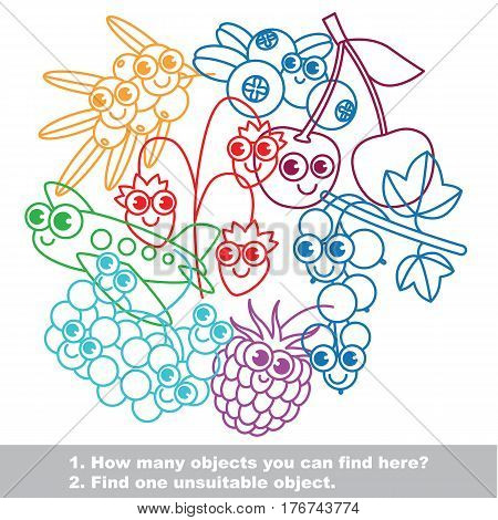 Funny berries mishmash set in vector outlined to be colored. Find all hidden objects on the picture. Easy educational kid game. Simple level of difficulty. Visual game for children.