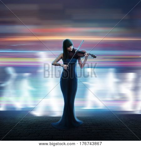 Beautiful violinist plays a tune on the night street