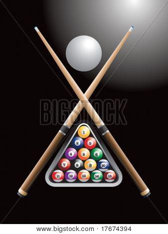 pool sticks cross