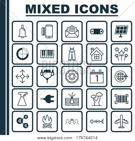 Set Of 25 Universal Editable Icons. Can Be Used For Web, Mobile And App Design. Includes Elements Such As Garden Clothes, Growing Plant, Sun Power And More.