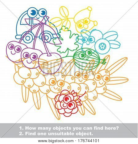 Cute sweet berries mishmash set in vector outlined to be colored. Find all hidden objects on the picture. Easy educational kid game. Simple level of difficulty. Visual game for children.