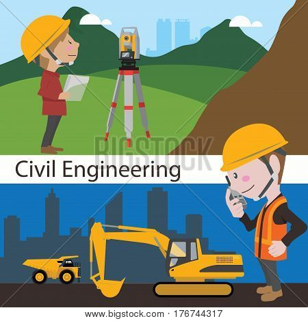 Construction civil engineering land survey engineer vector illustration