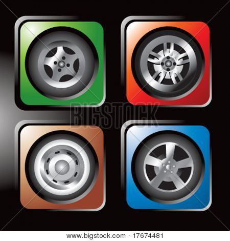 assorted colored tire icons