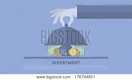 Property investment. Concept business vector for investing into ideas, creative innovative work, growing business. Flat illustration with thin broken line.