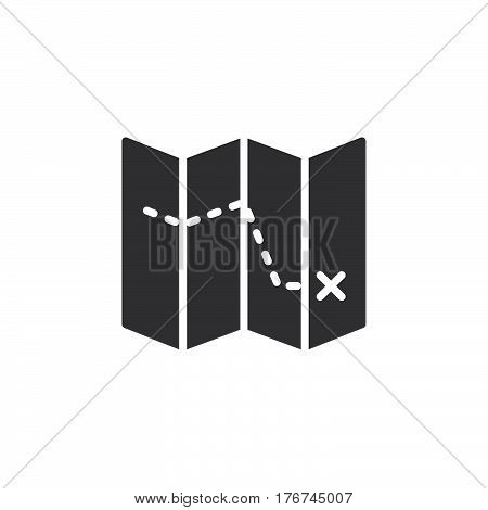 Route on map icon vector filled flat sign solid pictogram isolated on white. Symbol logo illustration
