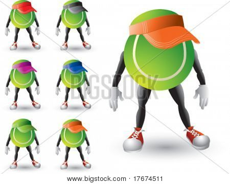 cartoon tennis balls with hats