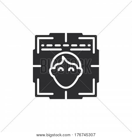 Face recognition system icon vector filled flat sign solid pictogram isolated on white. Symbol logo illustration