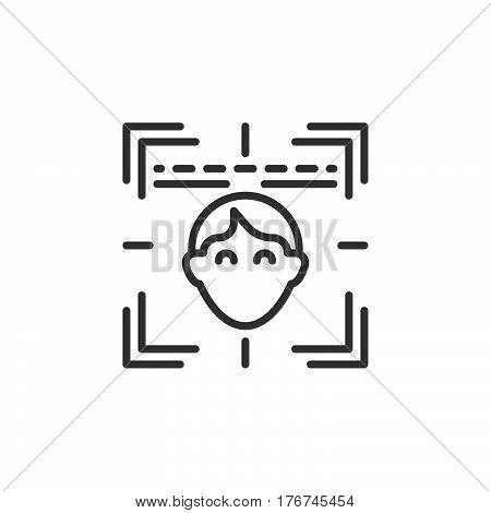 Face recognition system line icon outline vector sign linear pictogram isolated on white. Symbol logo illustration